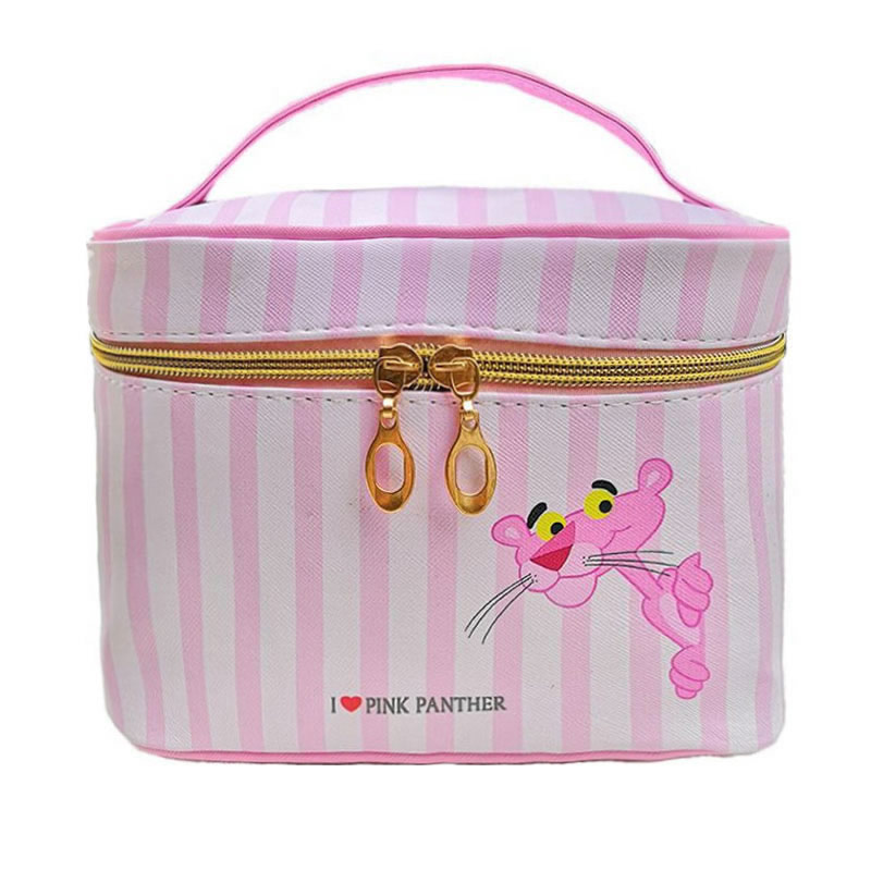 Cute Cartoon Animal Pink Panther Make Up Bag Women Zipper Cosmetic Box Travel High Capacity Makeup Pouch Organizer Toiletry Case