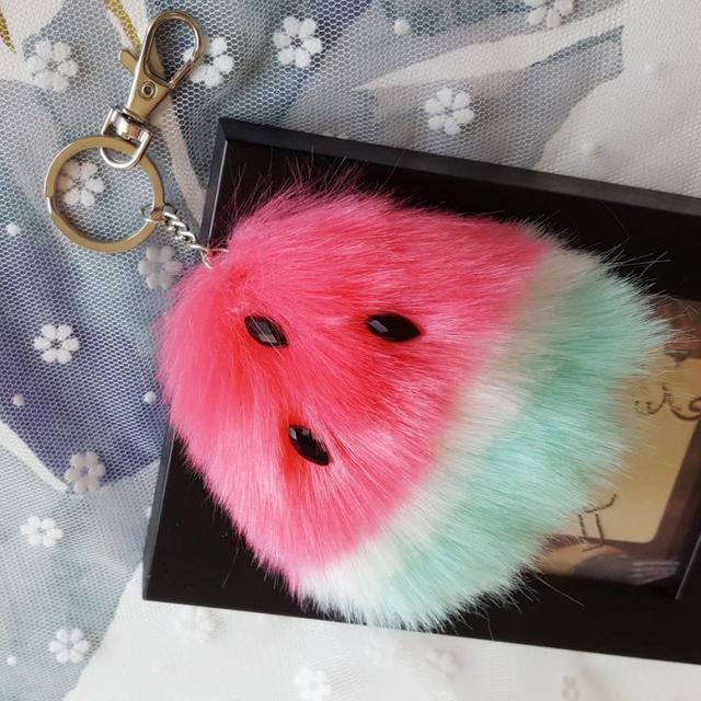 Bling-world Watermelon Rabbit Fur Ball Keychain Bag Plush Car Key Ring Car Key P