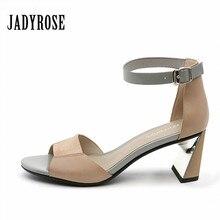 Jady Subiu Casuais Verão Mulheres Sandálias Estranhas Tornozelo-wrap Salto Alto Vestido Sapatos de Couro Genuíno Mulher Peep Toe Gladiador chinelos