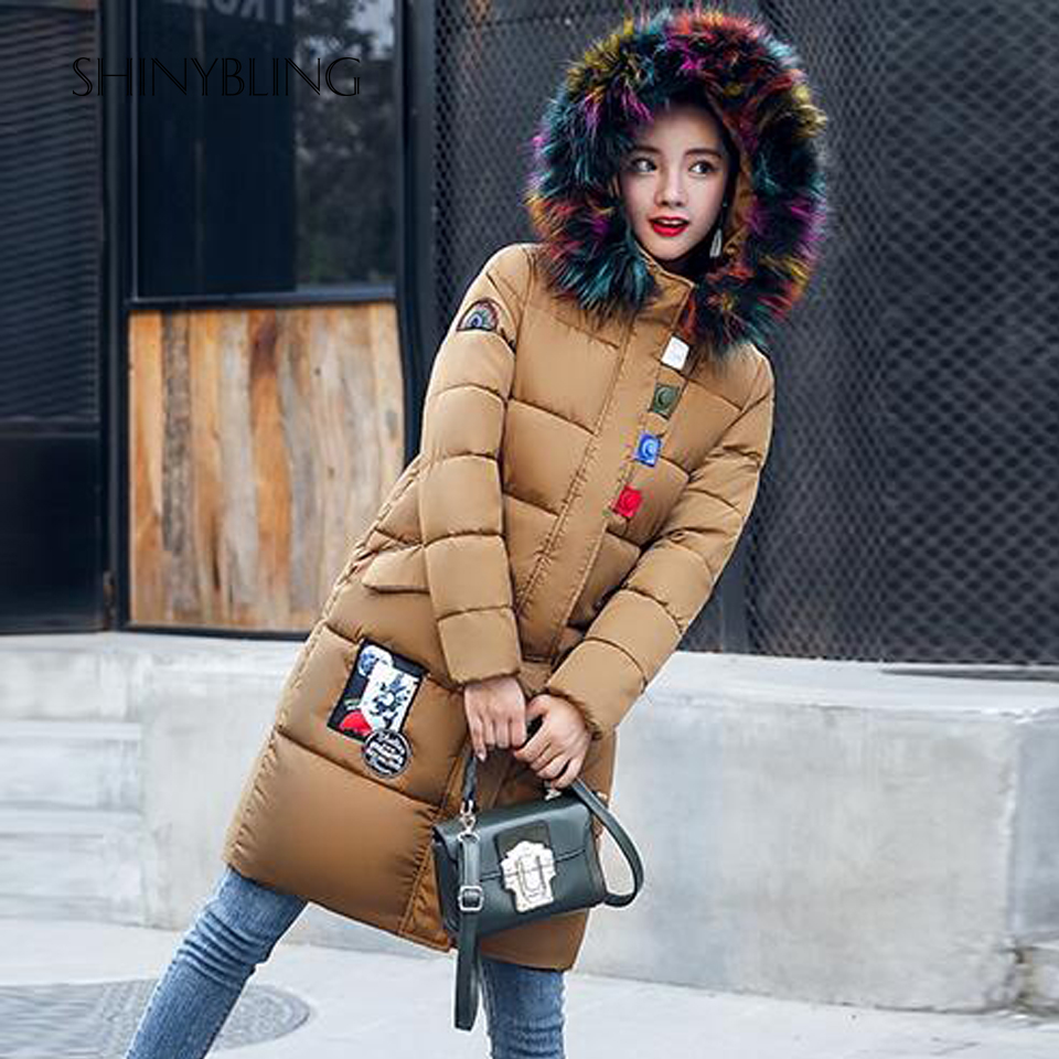 2017 Winter Long Parkas Women Fashion Designer Colored Feather Down Jackets and Coats Female Plus Size Warm Zipper Pockets Coat 2017 fashion boy winter down jackets children coats warm baby cotton parkas kids outerwears for