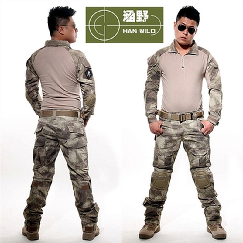 Atacs AU Tactical Uniform Clothing Army Combat Multicam Uniform Tactical Shirts Pants with Knee Pads Camouflage Military Set ...