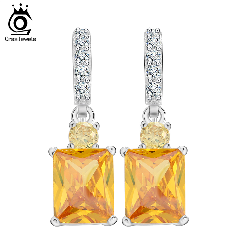 ORSA JEWELS Big Yellow Stone Zircon Earring Beautiful Dangle Earring for Women Anniversary Gift Female Earrings12 OE126