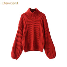 CHAMSGEND 2017 Women Winter Sweater Turtheneck Casual Winter Lantern Sleeve Knitted Sweater Red Female Pullovers Puff Sleeve