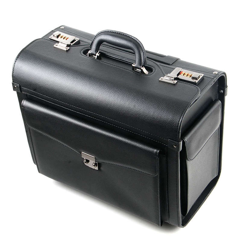 Rolling Luggage business Cabin Travel Bag PU Leather Pilots/captains dedicated flight Suitcases with Wheel Computer Trolley Case
