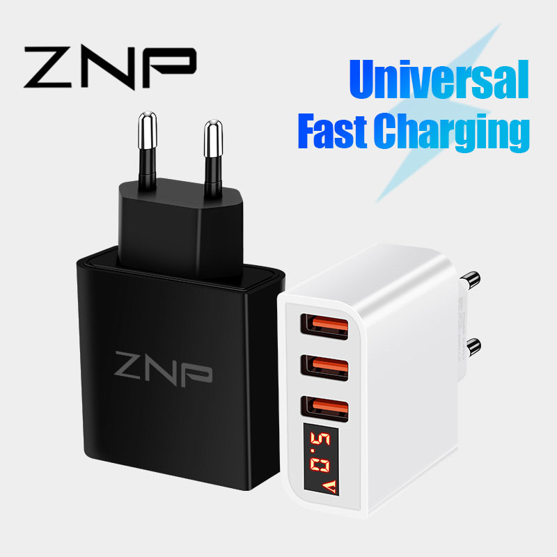 ZNP LED Display 3 4 USB Charger For iphone X XS Xiaomi 9 Fast Charging Travel Wall Charger For Samsung S10 Mobile Phone Charger