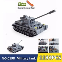 82010 1193 Large Panzer IV Tank Building Blocks DIY Bricks Set Educational Toys For Children Compatible Legoingly City tank