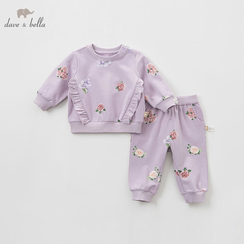 DBJ9656 dave bella spring infant toddler baby girls fashion floral sets kids long sleeve clothing sets