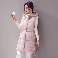 Swenearo New Brand women vest Winter jacket Hooded Thicken Warm Long Casual Cotton Padded Waistcoat female Sleeveless waistcoat
