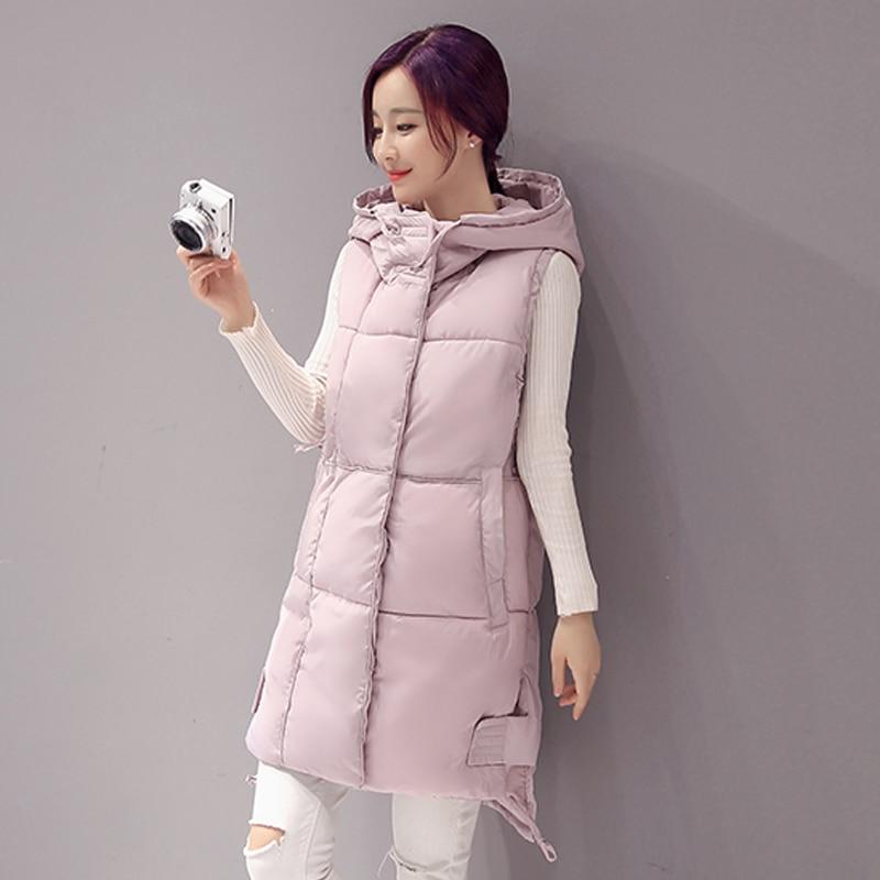 Swenearo New Brand women vest Winter jacket Hooded Thicken Warm Long Casual Cotton Padded Waistcoat female Sleeveless waistcoat
