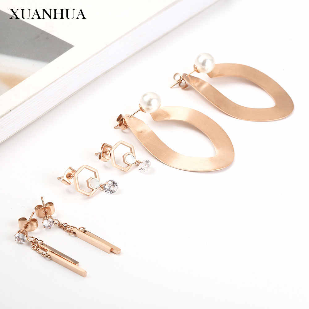 XUANHUA Rose Gold Drop Earrings For Women Stainless Steel Jewelry Woman Fashion Earring Jewelry Accessories Bohemian