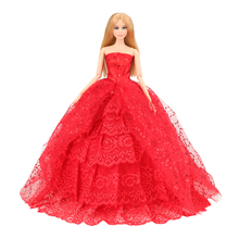 цены на Wedding Dress Red Pink White Evening Party Lace Baby Doll Long Tail Gift Present Clothes Set For Barbie Accessories Outfit Girls  в интернет-магазинах