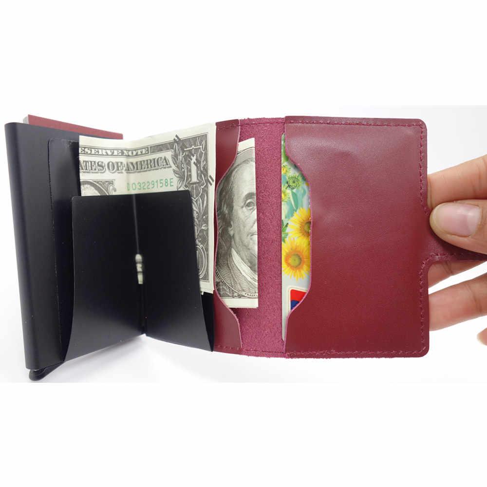 Мини кожаный мужской кошелек алюминиевая карточка и ID Держатели Тонкий RFID кошелек всплывающий чехол с протекторами для банковских карт держатель карты Портмоне