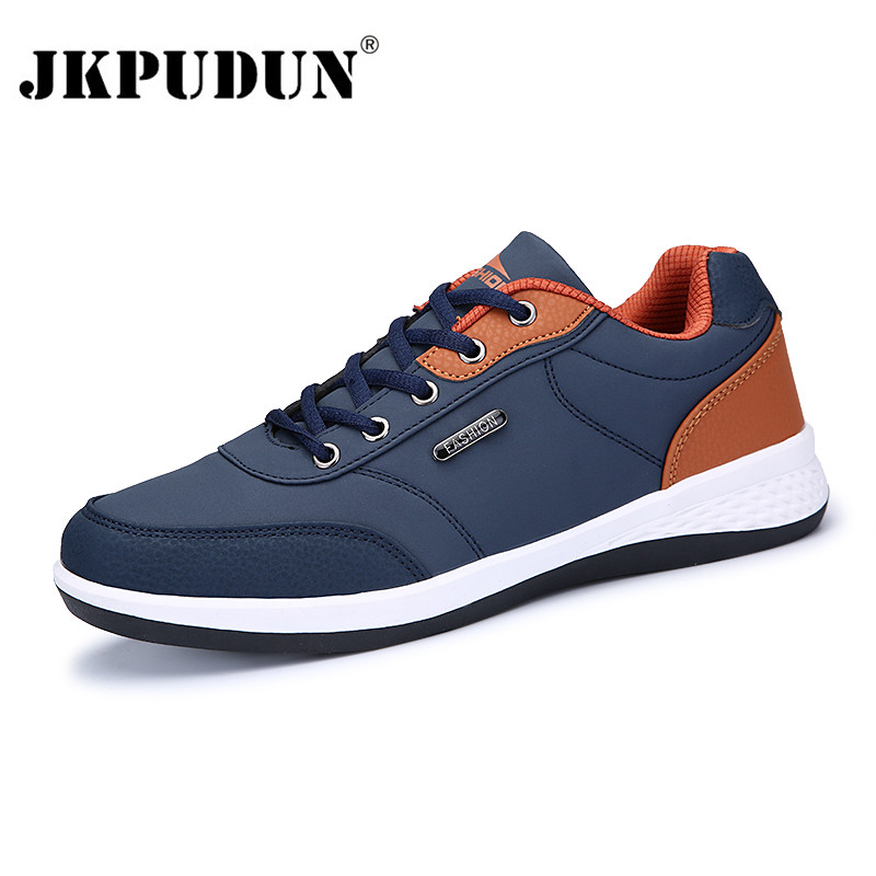 JKPUDUN Leather Men Shoes Luxury Brand England Trend Casual Shoes Men Sneakers Italian Breathable Leisure Male Footwear Loafers