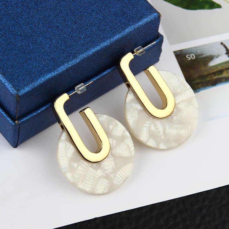Tortoiseshell Acrylic Big Gold Color Earrings Pattern New Women Earrings Geometric Statement Earring Female Brincos Jewelry 2019