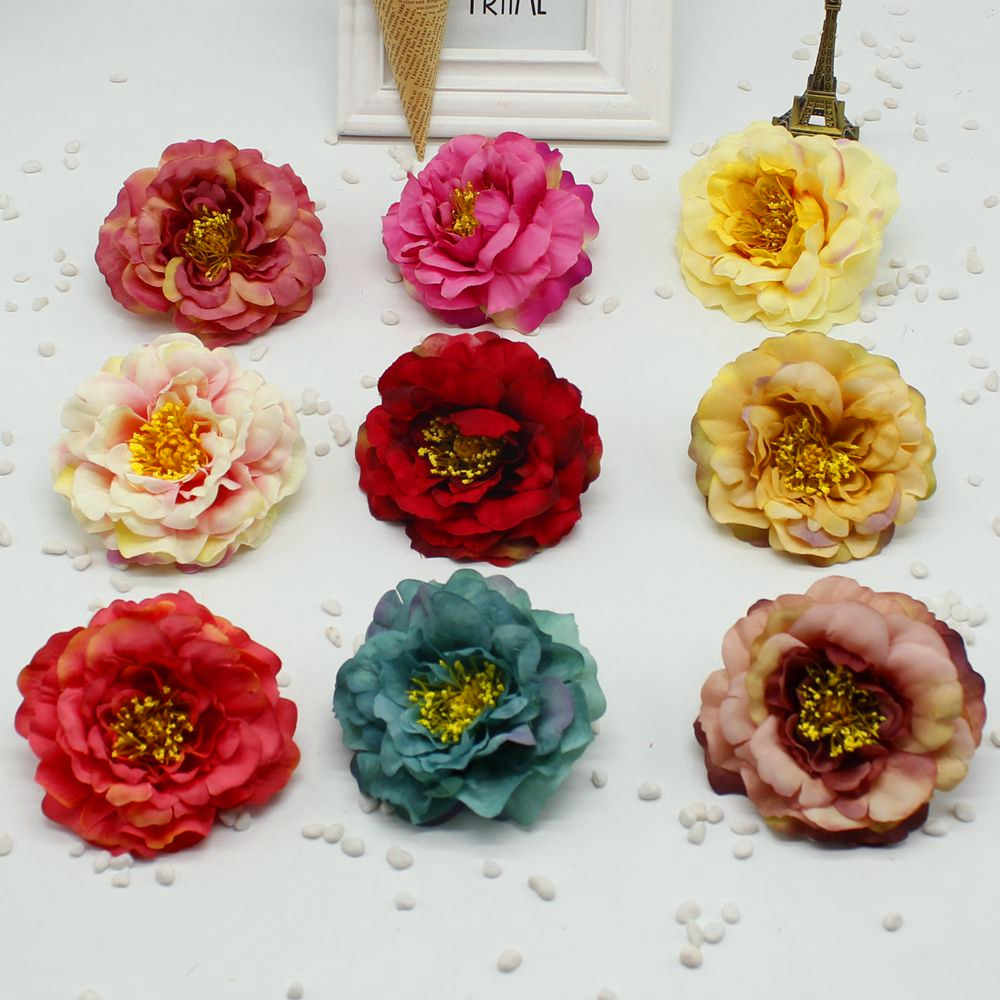 NEW 1pcs 9 cm 12 color DIY large artificial silk flower silk head home party decoration wedding DIY wreath gift craft faux flowe