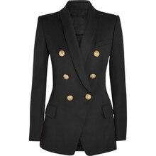 Новый модный дизайнерский Блейзер HIGH STREET 2020, женский двубортный длинный пиджак с длинным рукавом и металлическими пуговицами в виде льва, верхняя одежда