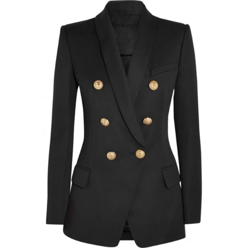 HIGH STREET New Fashion 2020 Designer Blazer Women's Long Sleeve Double Breasted Metal Lion Buttons Long Blazer Outer Wear
