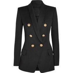 HIGH STREET Nieuwe Mode 2019 Designer Blazer vrouwen Lange Mouwen Double Breasted Metalen Leeuw Knoppen Lange Blazer Bovenkleding