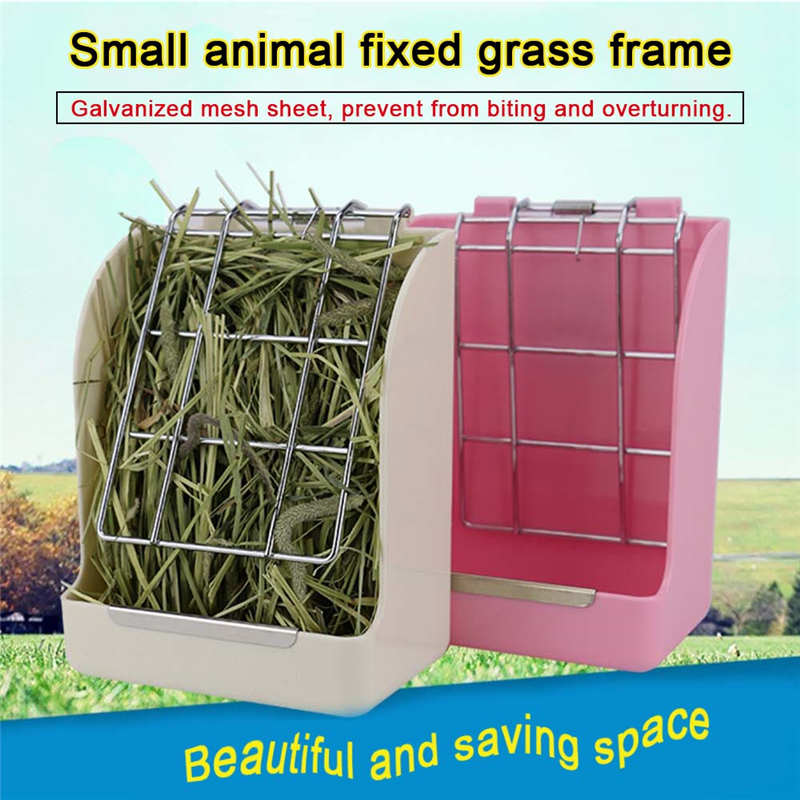 Rabbit Grass Feeder Spring Straw Frame Grass Basket Small Pet Guinea Pig Totoro Cage Accessories Fixed Food Container Bowl