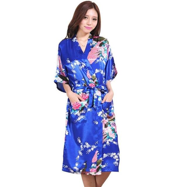 Plus Size S-XXXL Blue Chinese Women s Silk Nightgown Sexy Lingerie  Bridesmaid Wedding Robe Kimono adc1a7cbb