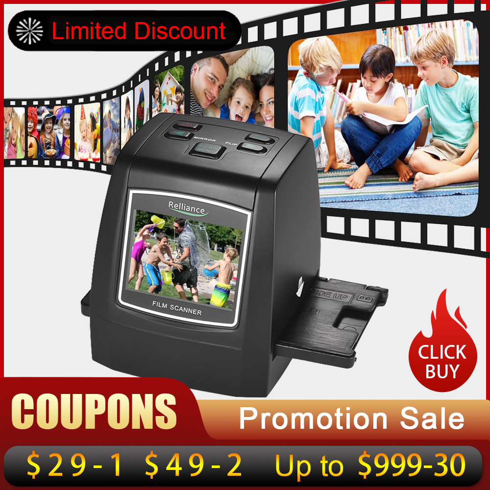2.4in TFT LCD High Resolution 14MP/22MP Film Scanner Convert 35mm/135mm film Monochrome Slide Film Negative into Digital Picture-in Scanners from Computer & Office    1
