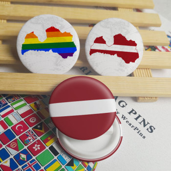 Latvia Flag Map Tin Button Pins LGBT Gay Rainbow Pride Tin Button Badges image