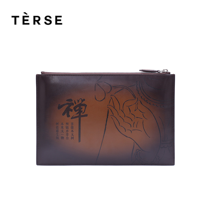 TERSE new Wallet Genuine Calf Leather Clutches Handbags Handmade Zipped Wallet Cell Phone Card Pocket Clutches Customized Logo cardamom clutches women fashion solid colors shape of hobos zipper soft cow leather casual small clutches cell phone pocket