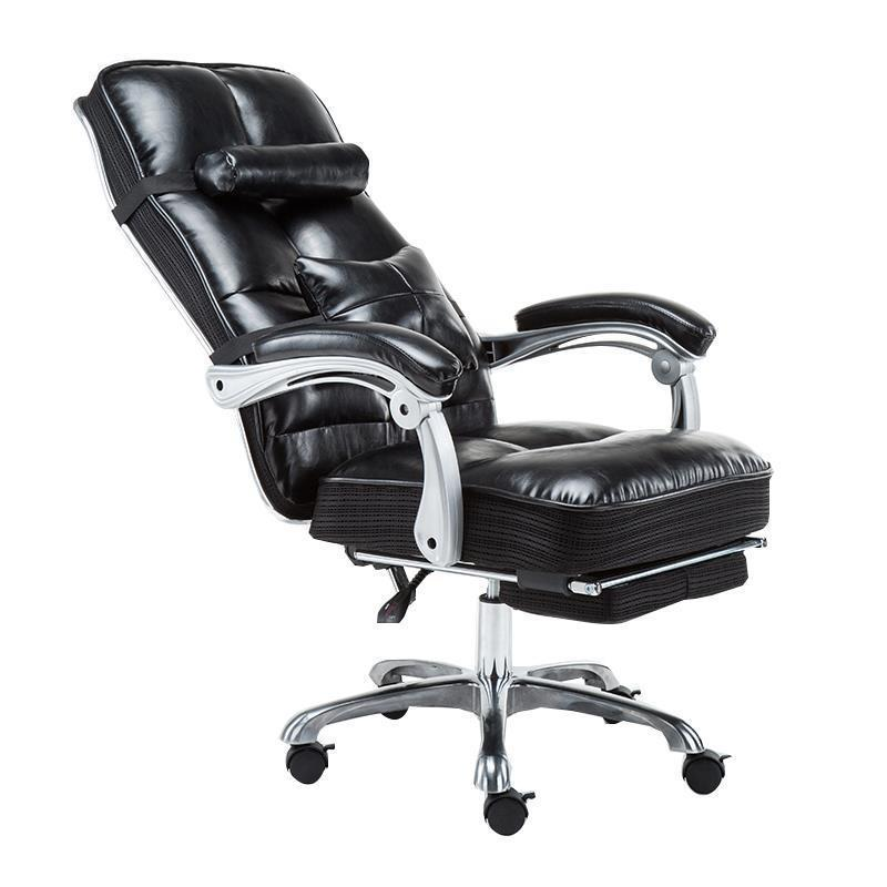 Leather Swivel Simple Work Black and White Grid Computer Home Boss Office Chair boss chair real leather computer chair home massage can lie in the leather chair solid wood armrest office chair 06