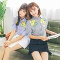 BL029 mujeres camisas de gasa blusas tapas de la manera más el tamaño de cuello redondo de encaje de manga corta camisa blusas femininas ropa