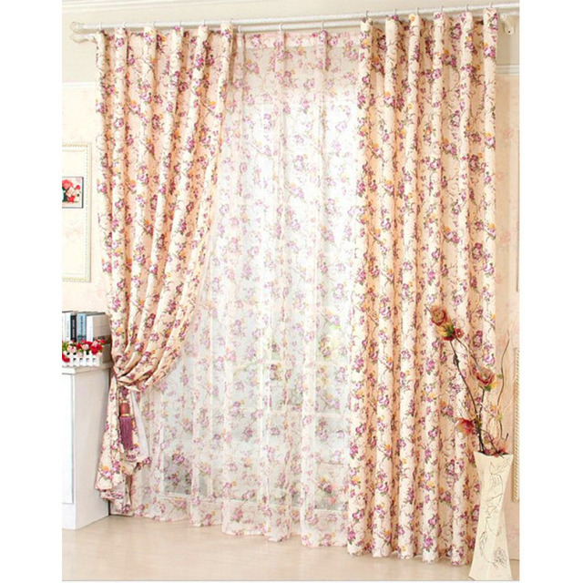 Window Curtain For Living Room Floral Curtain / Kitchen Curtains Butterfly  Red Purple Roses