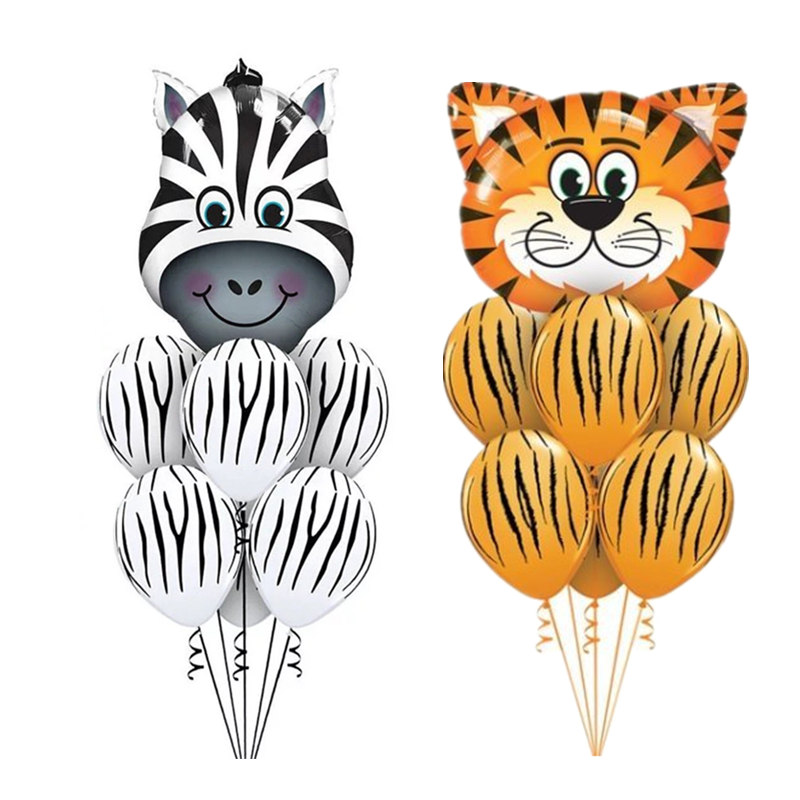Us 0 81 21 Off 7pcs Tiger Zebra Latex Balloon Set Theme Jungle Safari Animals Head Foil Balloons Birthday Party Decorations Baby Shower Gifts In