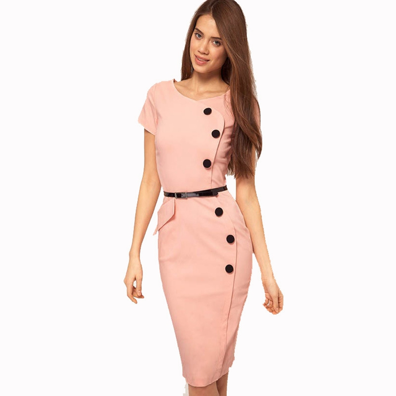 2018 Womens Elegant Qualities Buttons Short Sleeve Slim One Piece Dress Suit Work Office Business Cocktail Party Sheath Dress