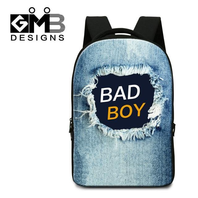 Dispalang Women Men Laptop Backpacks Denim Bad Boy Print Large School Book Bags College Student Computer