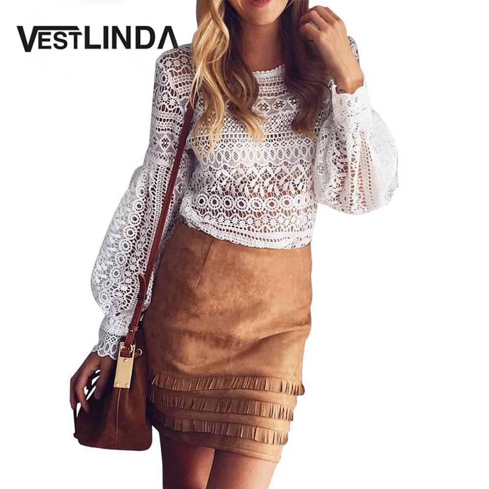 VESTLINDA Sexy Lace Hollow Out Blouse Shirt Women Blusas Feminina 2017 O Neck Lantern Sleeve Blusa Ladies Elegant Lace Blouse 1