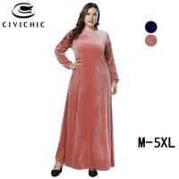 CIVICHIC Floral Embroidery Maxi Dress Women Winter Gown Flannel Velvet Robe Femme Fall Plus Size Swing Jurk Party Vestido DRS250