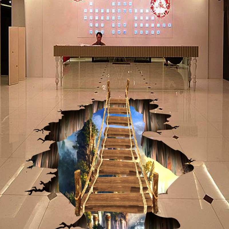 Free Shipping 3d floor painting floating board bridge Wonderland home decoration bathroom bedroom flooring wallpaper mural free shipping waterfall hawthorn carp 3d outdoor flooring non slip shopping mall living room bathroom lobby flooring mural