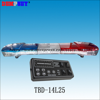 Barra de luz Led TBD-14L25 de alta calidad DC12V 72 W/Barra de luz de advertencia azul y rojo/barra de luz de policía/ barra de luz de emergencia/25 patrones de flash
