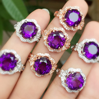 Blossoming Piezoelectric Amethyst Ring Round 10 Mm Super Beautiful Gemstone Ring Sterling Silver Ring
