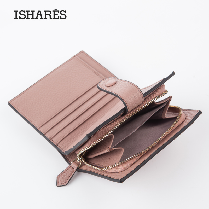 ISHARES Exquisite Genuine Leather Short Wallet Fashion Hasp Women Mini Purse Simple High Quanlity Cow Leather Wallets IS6098 smirnoff slim genuine leather wallet case hand made custom name hasp simple style mens wallet super thin card purse mini wallet