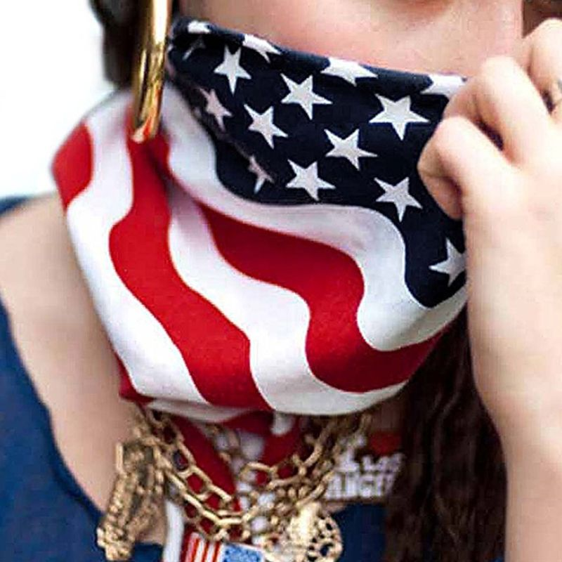 50x50CM Unisex Cotton Sport Pocket Square Scarf American Flag Stripes Star Print Headband Bandana Hip-Hop Wristband Hair Wrap
