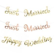 Ouro prata feliz aniversário banner bunting apenas casado pendurado guirlanda decoração de festa de casamento banner decoração de casa