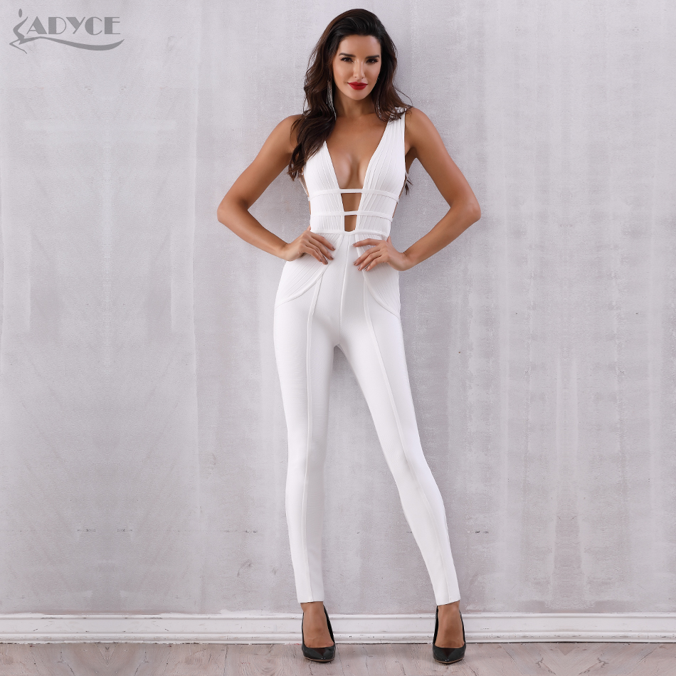 Bandage Jumpsuit Rompers Vestidos Verano Sexy Sleeveless Deep V Hollow Out Celebrity Party Jumpsuits 2