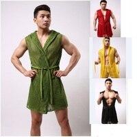 2015 Nuovi uomini accappatoi sexy di modo della maglia accappatoi accappatoio maschile indumenti da notte della moda colthes 6 colori taglia S/M/L