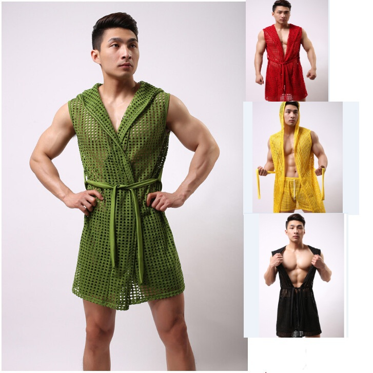 New Men's Bathrobes Fashion  Sexy Mesh Bathrobes Male Robe Sleepwear Fashion Colthes 6 Colors Size S/M/L