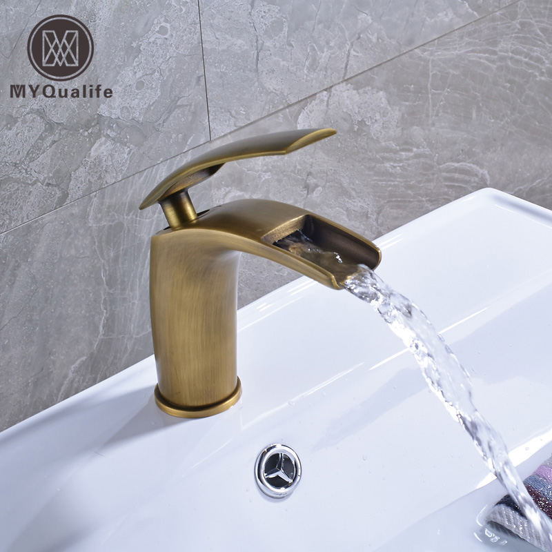 Creative Waterfall Single Handle Bathroom Vessel Sink Faucet Deck Mounted One Hole Brass Antique Basin Mixer Taps antique brass bathroom basin faucet dual cross handles single hole deck mounted vessel sink gooseneck mixer taps wnf006