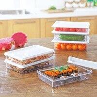 OTHERHOUSE 7 Pcs Food Storage Plastic Clear Container Dispenser Kitchen Organizer Refrigerator Storage Box Case Fresh