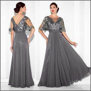 b0f29578c2 Elegant Party Dress Sheer Neck Long Silver Grey Mother of the Bride Groom  Dresses Formal Gowns