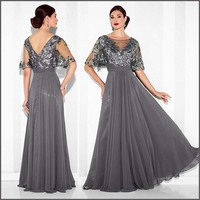 Elegant Party Dress Sheer Neck Long Silver Grey Mother of the Bride/Groom Dresses Formal Gowns