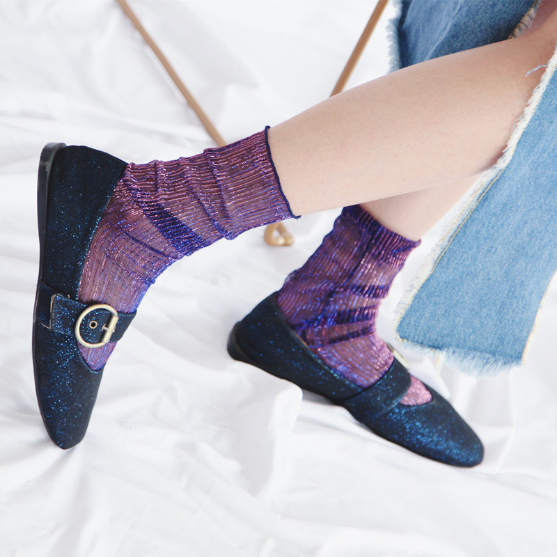 New Gradual Color Shiny Socks Women Short Transparent Funny  Ankle Socks Summer Thin Hollow Out Striped Ankle Socks Glitter Sox