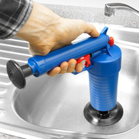 High Pressure Air Drain Blaster Pump Plunger Sink Pipe Clog Remover Toilets Bathroom Kitchen Cleaner Kit Sewer Drain